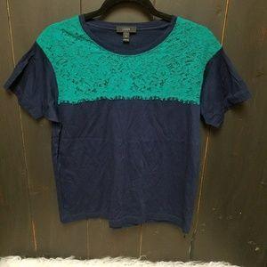 J. Crew lace detail colorblock t shirt, sz M